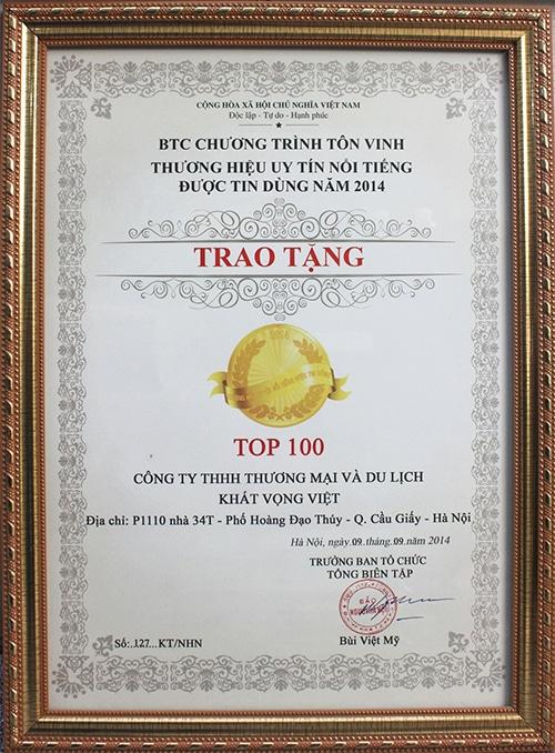 Bảng vinh danh Du lịch Khát Vọng Việt là thương hiệu uy tín nổi tiếng được tin dùng