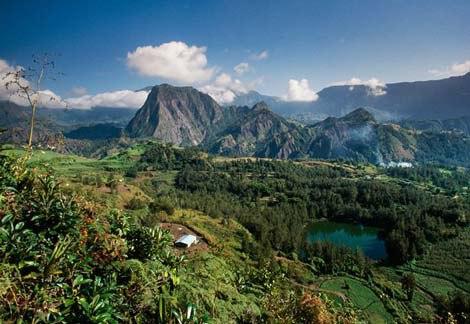 Hồ nước và rừng cây nhiệt đới xanh tươi.