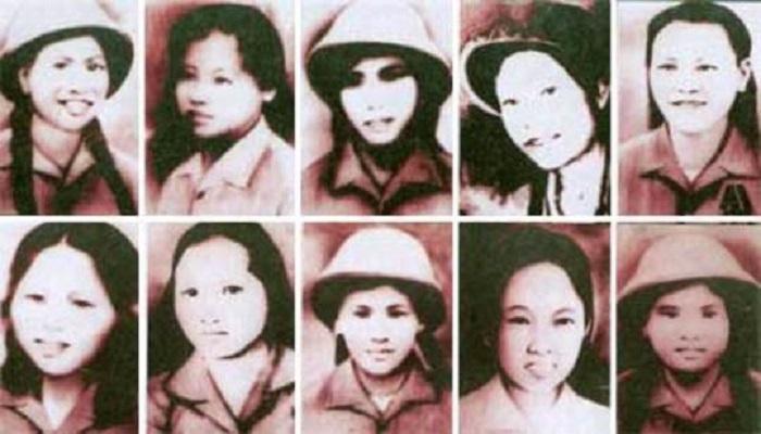 Chân dung 10 cô gái thanh niên xung phong.