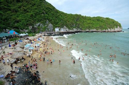 Bãi tắm Cát Bà luôn thu hút đông du khách tắm biển