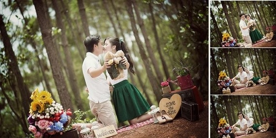 Bức ảnh cưới gần gũi với thiên nhiên rừng thông tươi mát