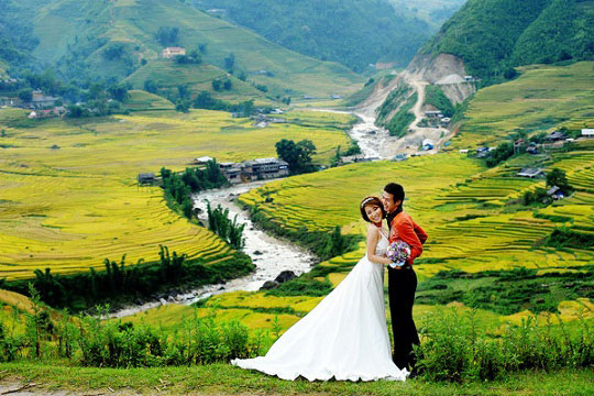Mùa lúa chín Sapa được nhiều cặp đôi lựa chọn là khung cảnh chính cho bộ ảnh của mình
