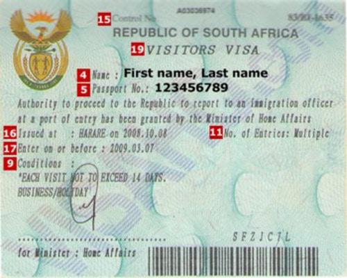 Mẫu visa đi du lịch Nam Phi