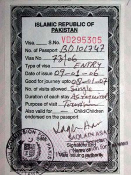 Mẫu visa đi Pakistan