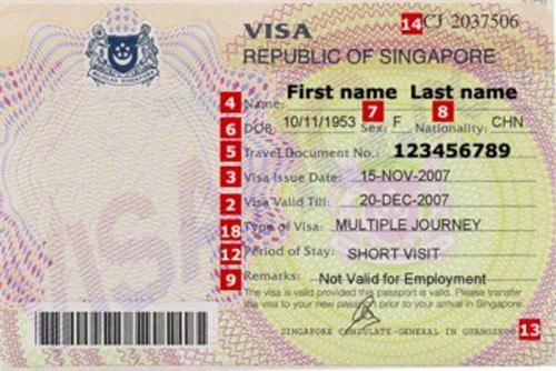 Mẫu visa du lịch Singapore