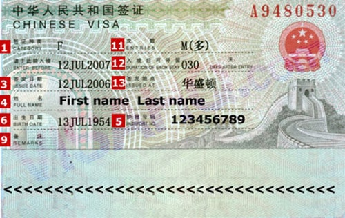 Mẫu visa đi du lịch Trung Quốc