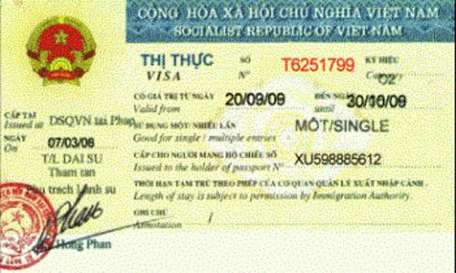 Mẫu visa nhập cảnh Việt Nam