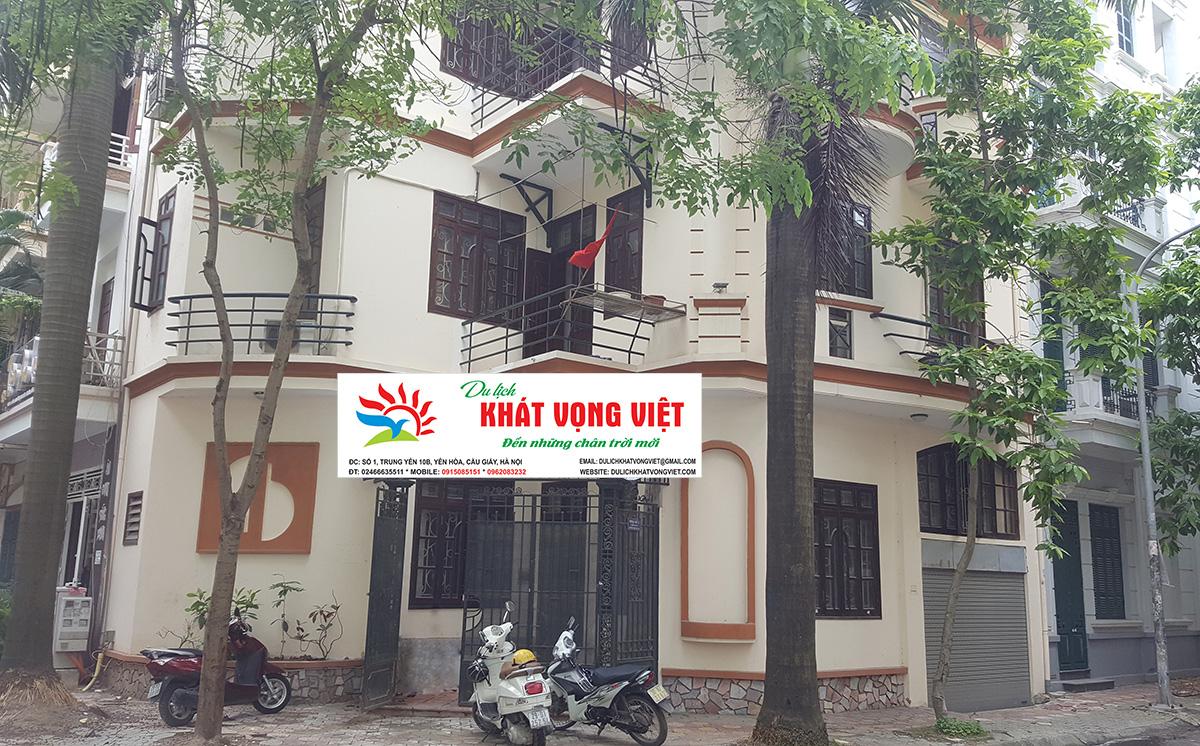Công ty du lịch Khát Vọng Việt tọa lạc tại Biệt thự số 1, Lô 4E, đường Trung Yên 10B, phường Yên Hòa, quận Cầu Giấy, Thành phố Hà Nội.