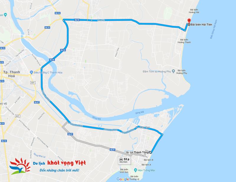 Khoảng cách từ Hải Tiến đi Sầm Sơn