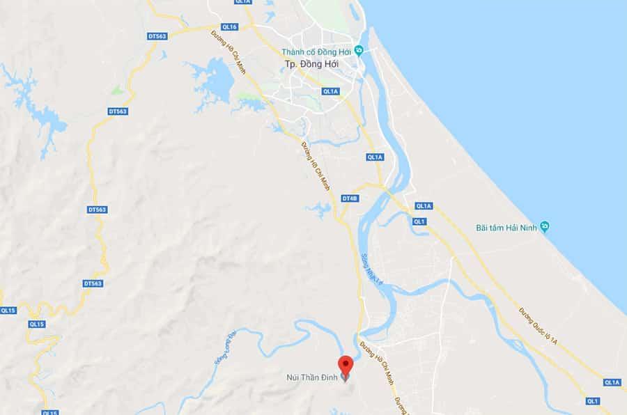 Vị trí núi Thần Đinh trên bản đồ