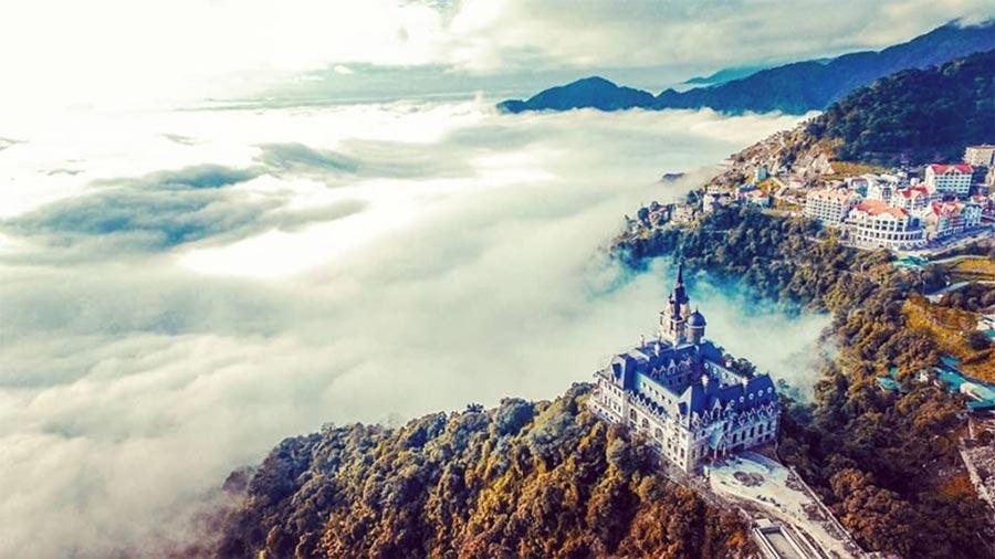 Toàn cảnh lâu đài Tam Đảo khi nhìn từ trên cao