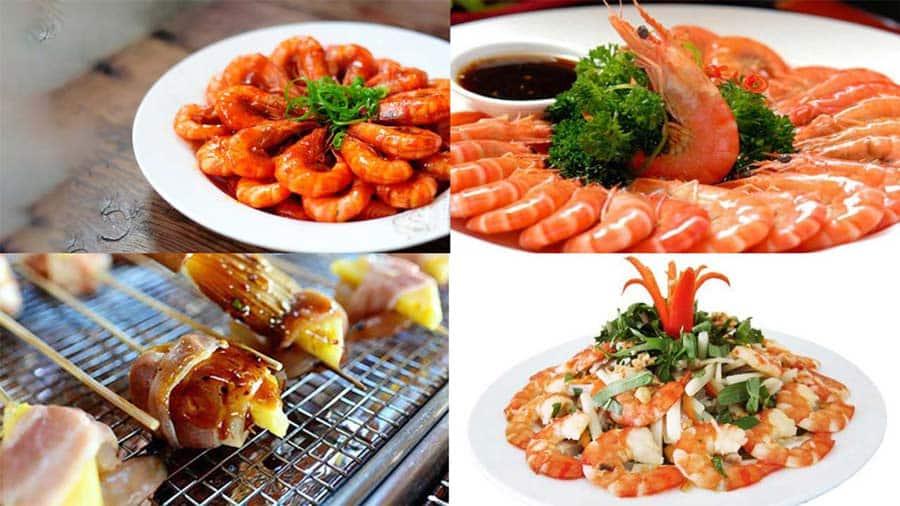 Tôm các món tại nhà hàng khách sạn Tuấn Linh - Hải Tiến