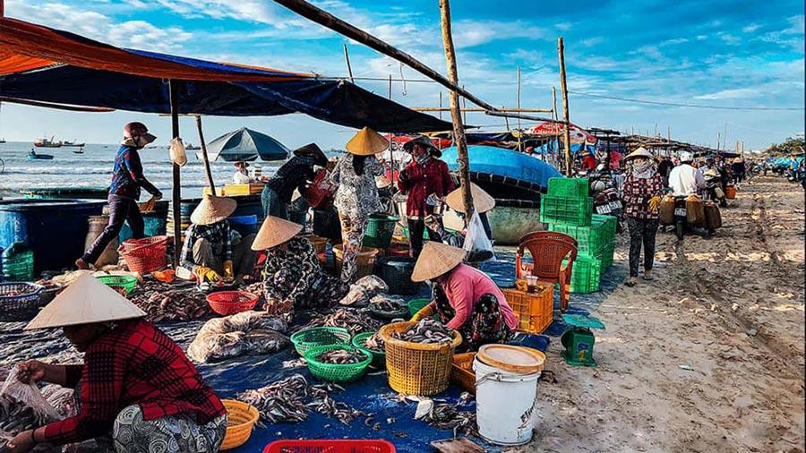Chợ hải sản tấp nập mỗi sáng tàu đánh bắt cập bến