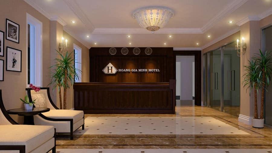 Sảnh khách sạn Hoàng Gia Minh sang trọng, thiết kế hiện đại