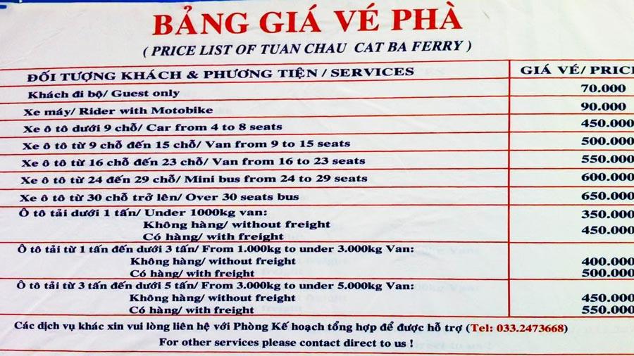 Bảng giá vé phà Tuần Châu cập nhật mới nhất