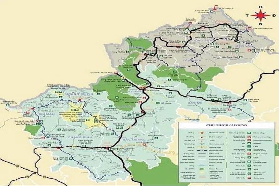Bản đồ chi tiết các tuyến điểm du lịch tại Hà Giang