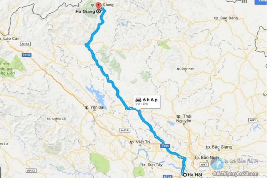 Bản đồ di chuyển đến con đường Hạnh phúc Hà Giang