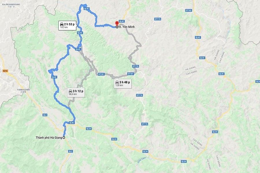 Cung đường từ thành phố Hà Giang đi đến Thị Chấn Yên Minh
