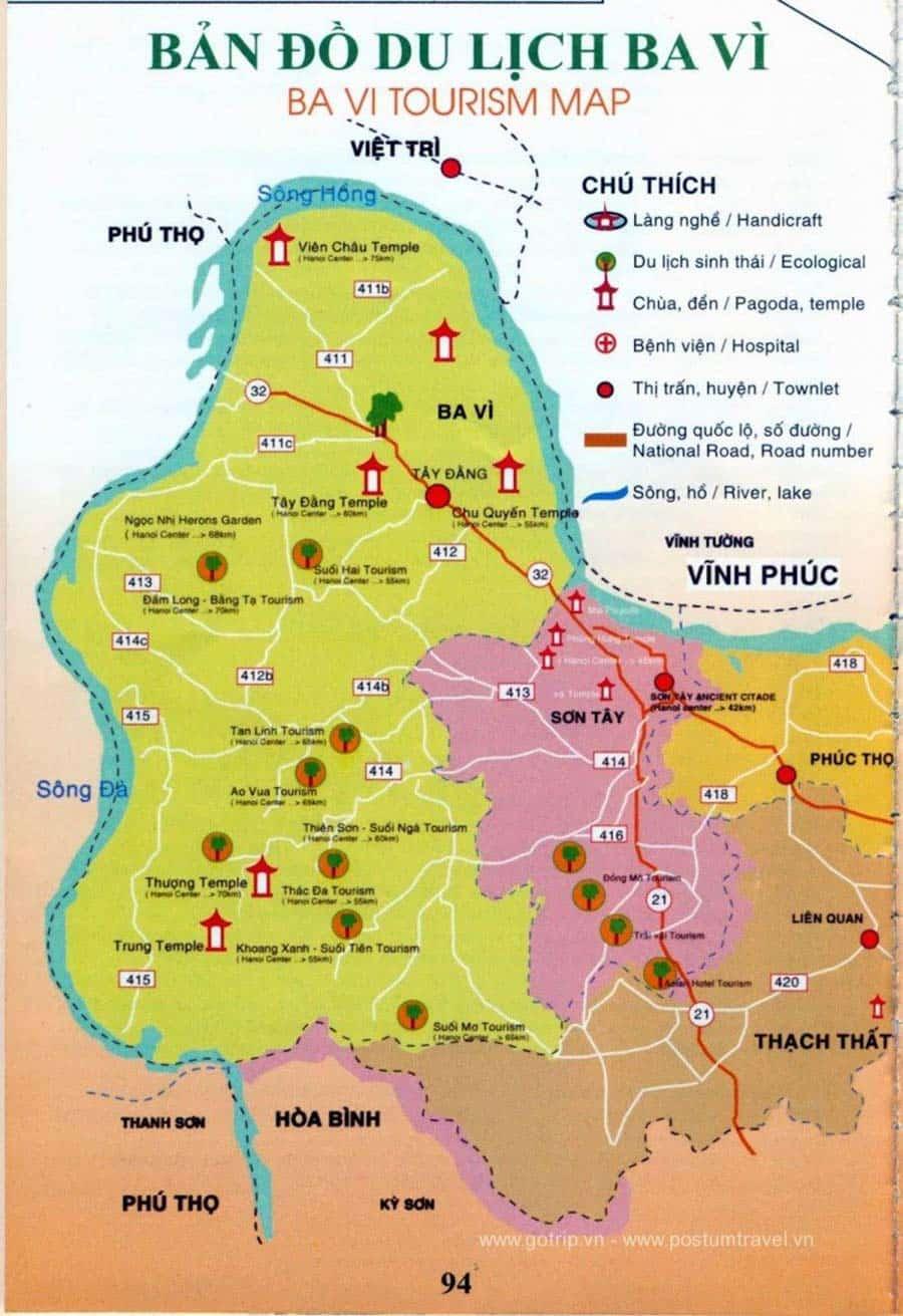 Bản đồ du lịch Ba Vì rất hữu ích cho dân phượt