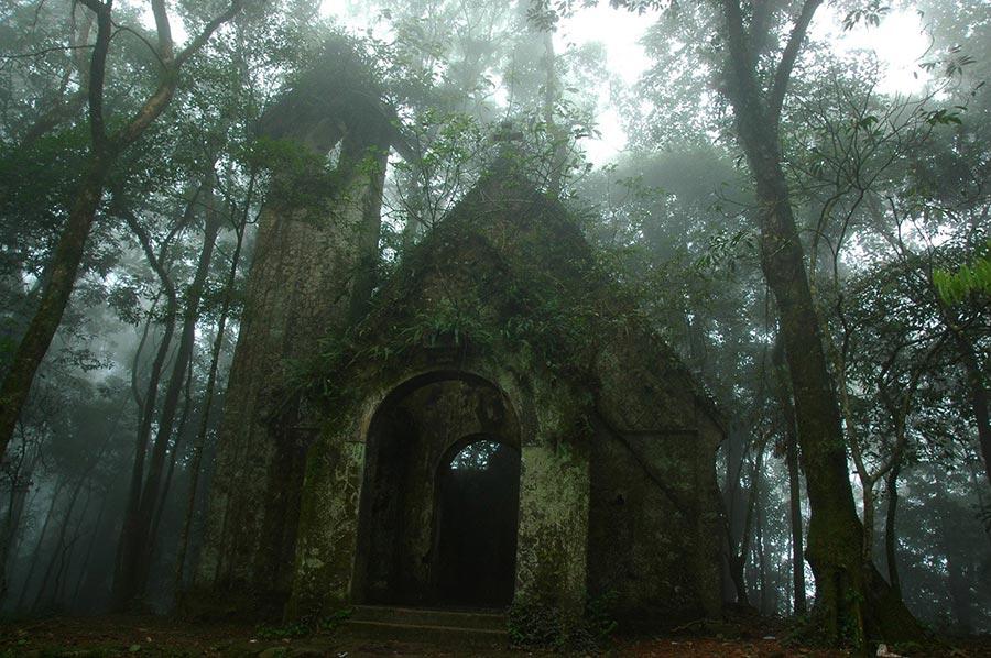 Màn sương mờ ảo càng tạo nên vẻ đẹp cổ kính, huyền ảo cho Ba Vì