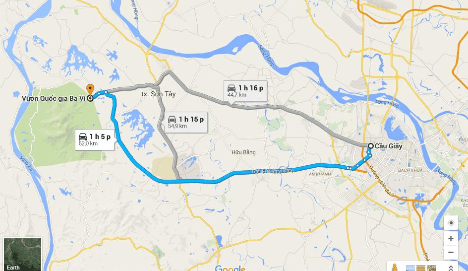 Bản đồ chỉ dẫn đường đi từ trung tâm TP. Hà Nội đi đến vườn Quốc gia Ba Vì