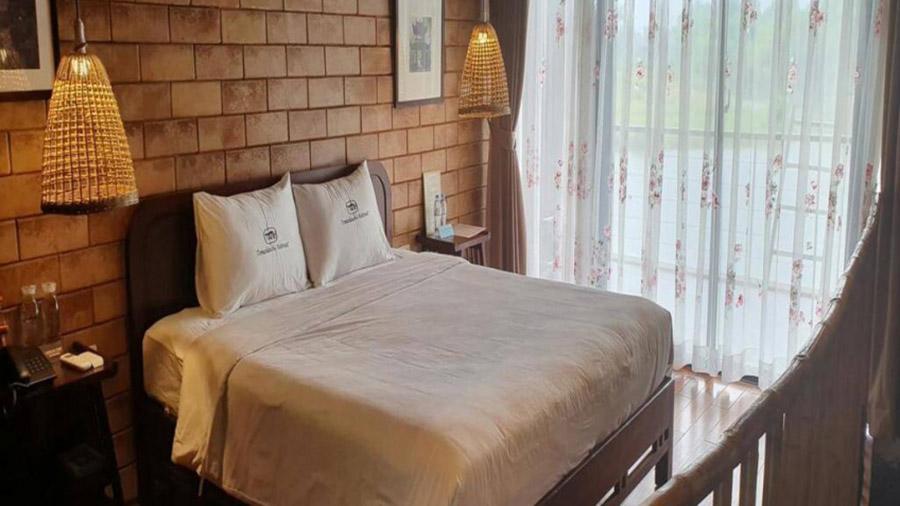 Các phòng nghỉ tại làng Mít được trang bị đầy đủ tiện nghi