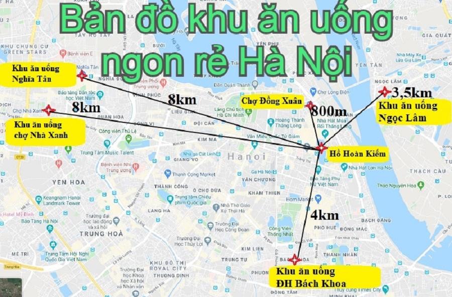 Bản đồ khu ăn uống, ẩm thực ở Hà Nội