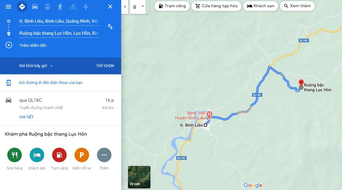 Bản đồ đi đến ruộng bậc thang Lục Hồn