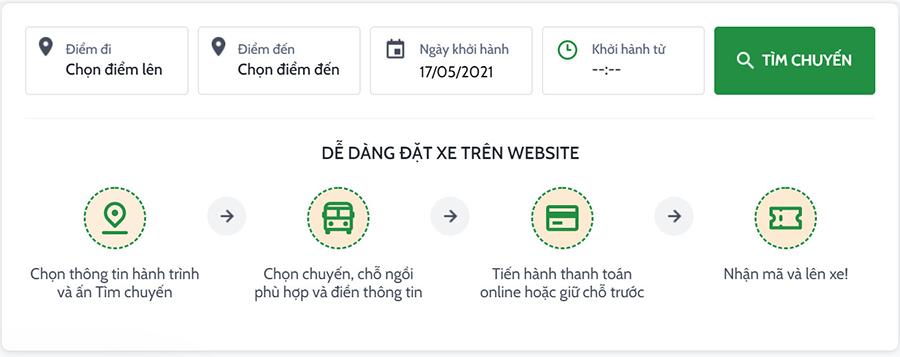 Cách thức đặt vé xe trên website chính thức của công ty