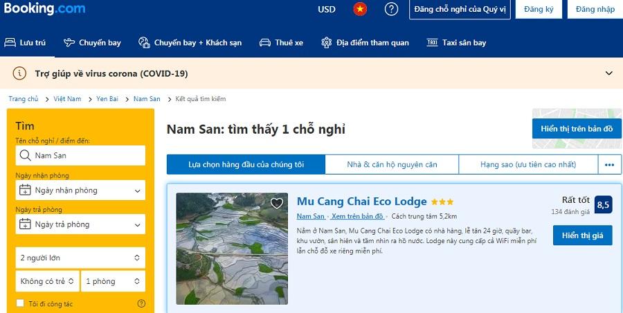 Cách đặt phòng Mu Cang Chai Ecolodge trên booking.com