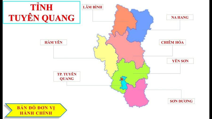 Huyện Na Hang trên bản đồ tỉnh Tuyên Quang