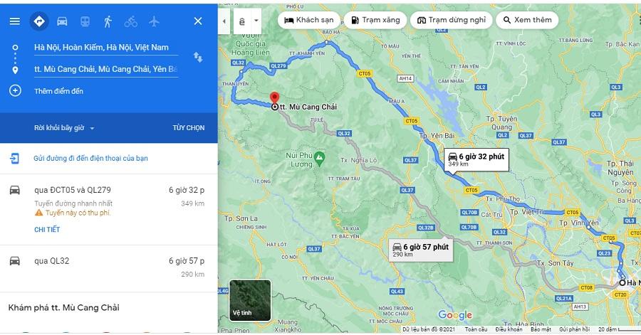 Tuyến đường thứ nhất đi từ Hà Nội đến Mù Cang Chải