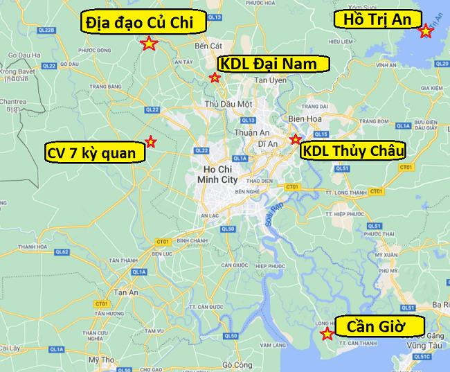 Bản đồ các điểm du lịch Sài Gòn