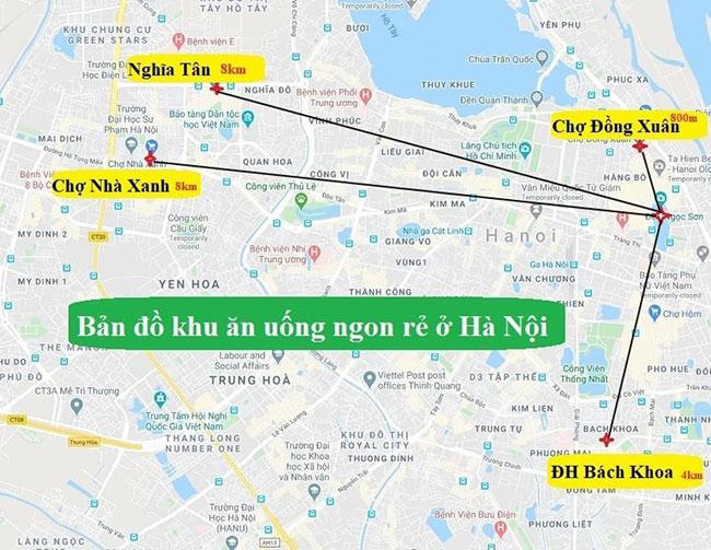 Các con đường ăn uống nổi tiếng tại Hà Nội