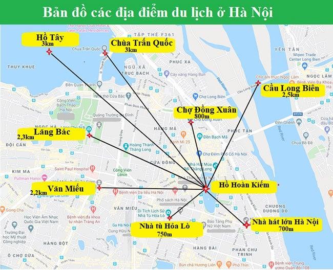 Các địa điểm du lịch tại trung tâm thành phố Hà Nội